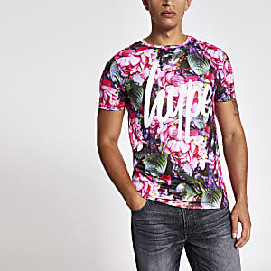 Hype pink flower print branded T-shirt