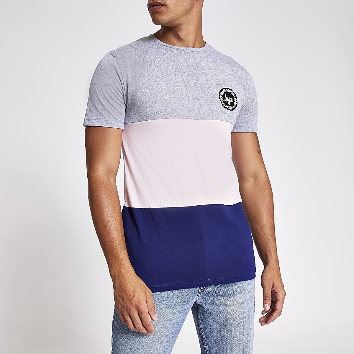 Hype pink colour block chest logo T-shirt