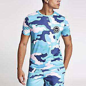 Hype – Khaki T-Shirt mit Camouflage-Muster und Logo