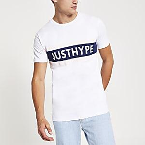 Hype - Wit T-shirt met 'Just hype'-print en korte mouwen