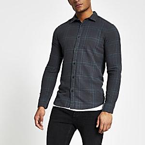 Only & Sons – Grün kariertes, langärmeliges Hemd
