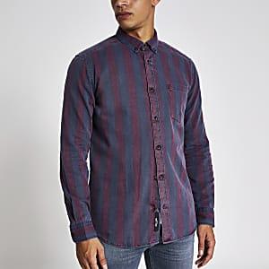 Only & Sons - Rood gestreept overhemd met lange mouwen