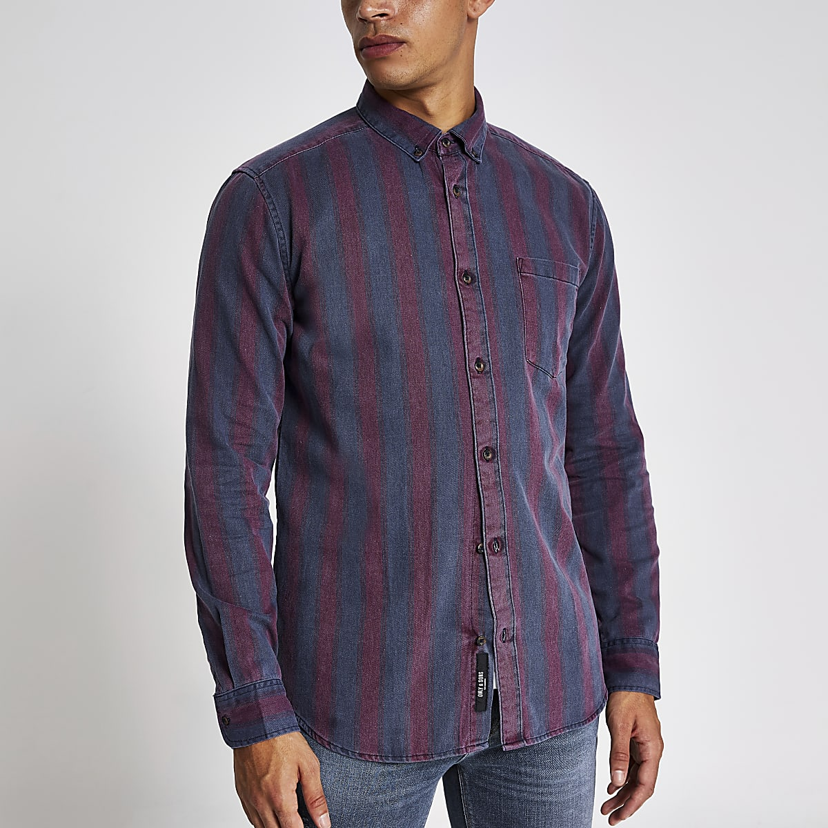 Only & Sons – Chemise manches longues rougeà rayures