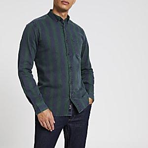 Only & Sons - Groen gestreept overhemd met lange mouwen