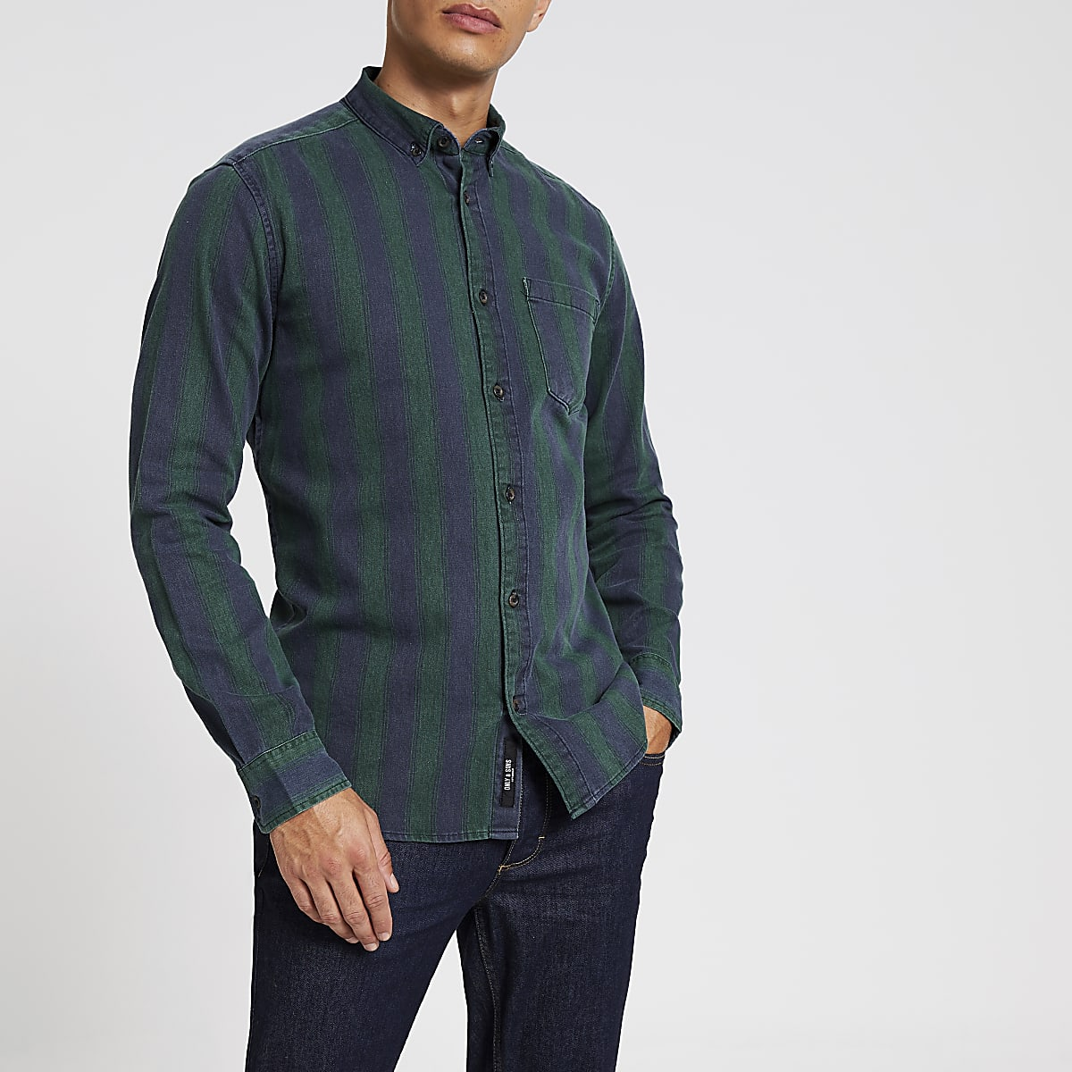 Only& Sons – Chemise manches longues verteà rayures