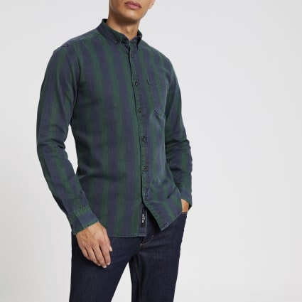 Only & Sons green stripe long sleeve shirt