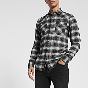 Only& Sons - Chemise noire manches longues à carreaux