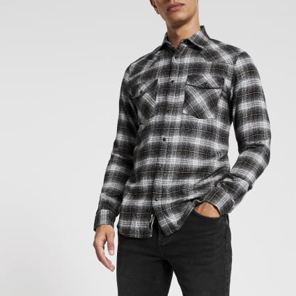 Only & Sons black check long sleeve shirt