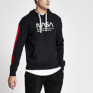 Only & Sons - Sweat  à capuche noir imprimé Nasa