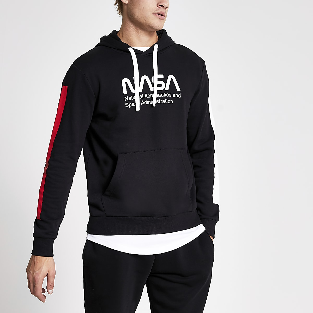 Only & Sons black Nasa print hoodie
