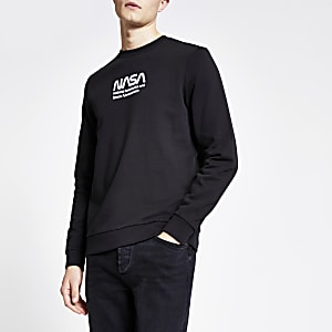 Only & Sons – Schwarzes Sweatshirt mit Nasa-Print