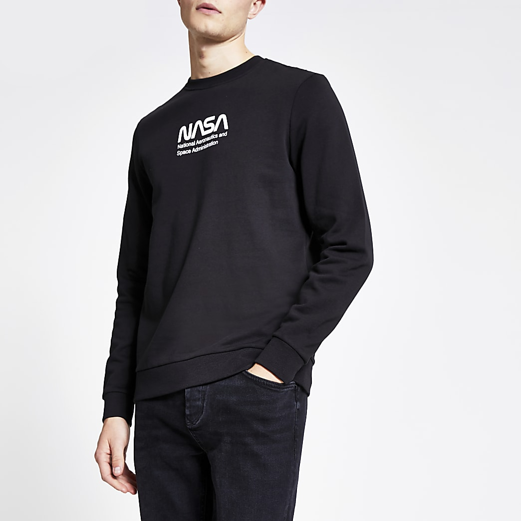 Only & Sons black Nasa print sweatshirt
