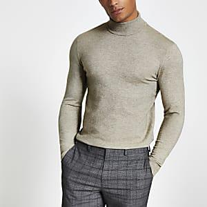 Only and Sons- Kiezelkleurige hoogsluitende trui