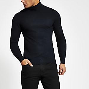 Only & Sons – Marineblauer Pullover mit Stehkragen