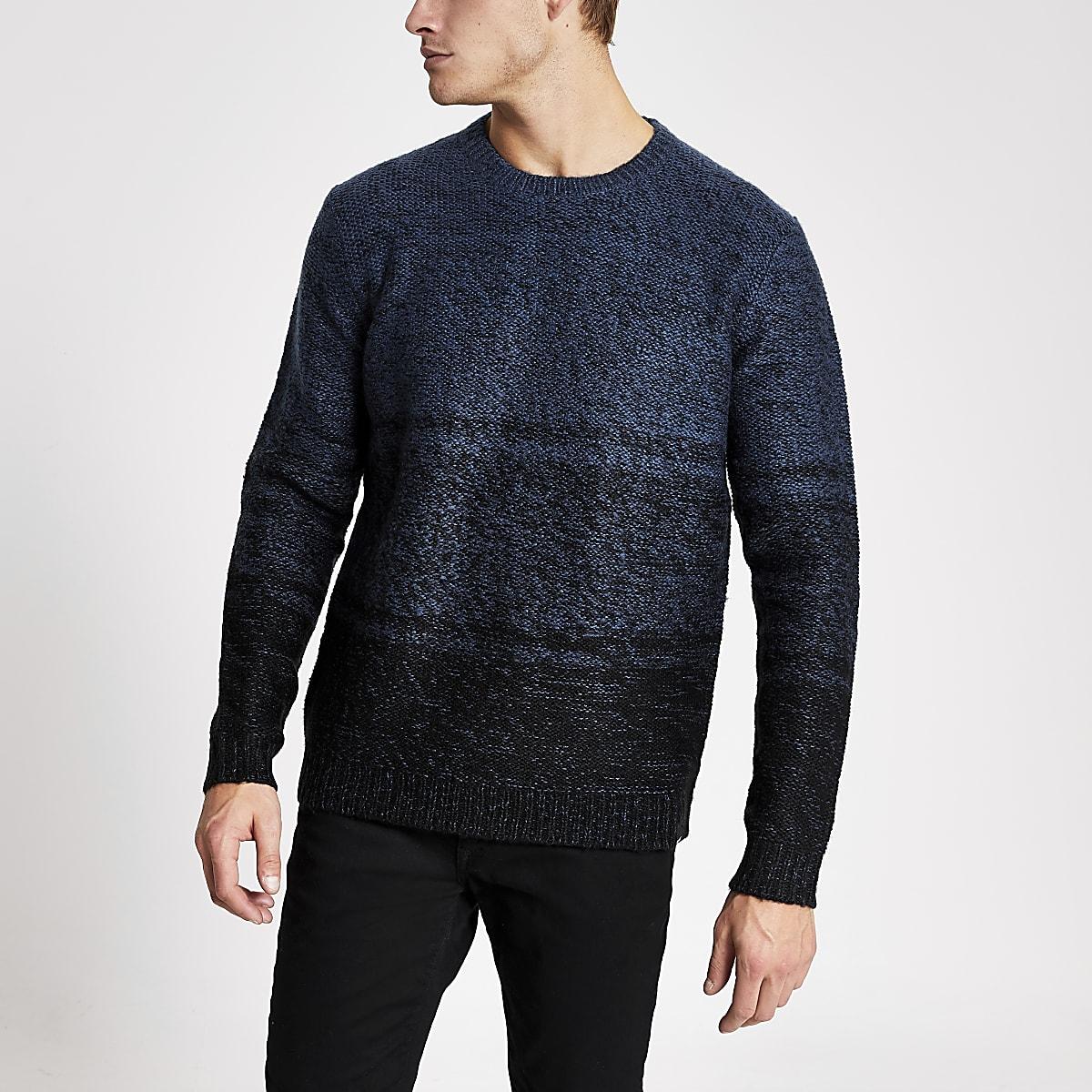 Only & Sons - Blauwe gebreide pullover met kleurvervaging