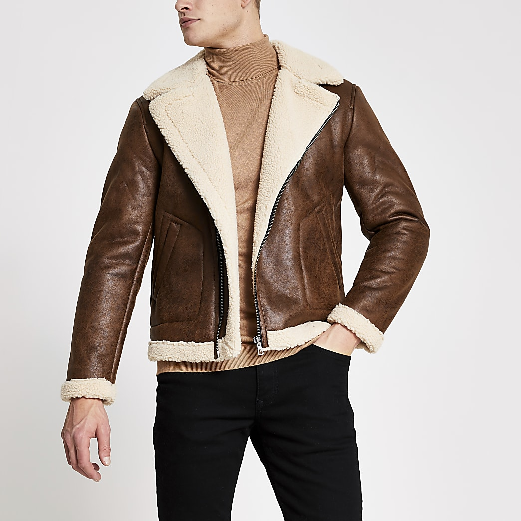 Only & Sons brown aviator jacket