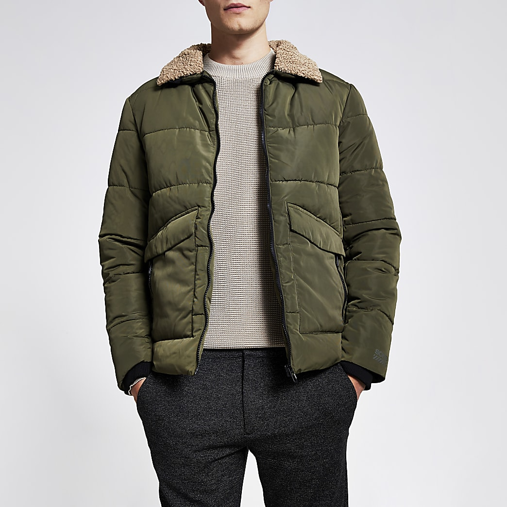 Only & Sons khaki borg collar jacket