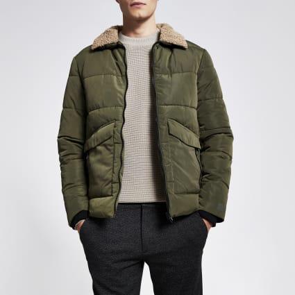 Only & Sons khaki borg collar jacket