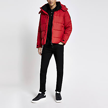 Only and Sons red puffer coat