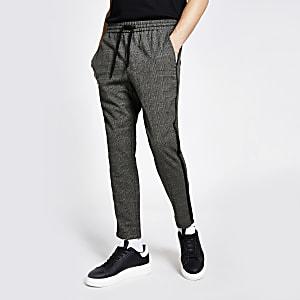 Only & Sons – Karierte Hosen in Grau mit seitlichem Streifen