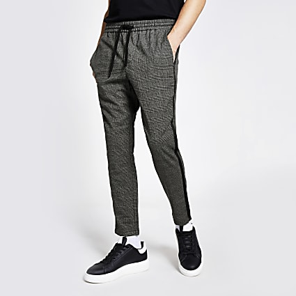 Only & Sons grey check tape side trousers