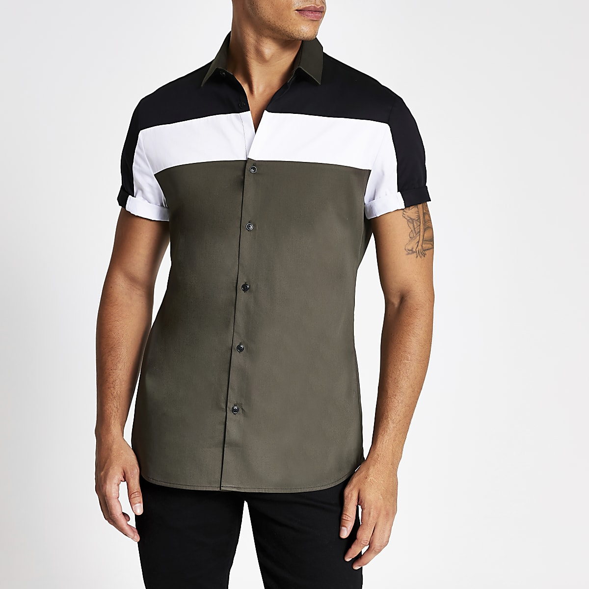 Khaki colour block slim fit shirt