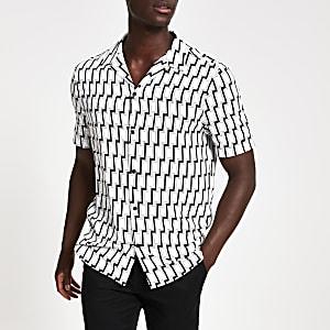 Zwart slim-fit overhemd met geometrische print en korte mouwen