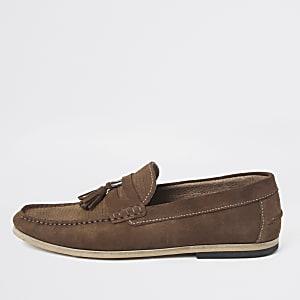 Brown textured suede tassel loafers