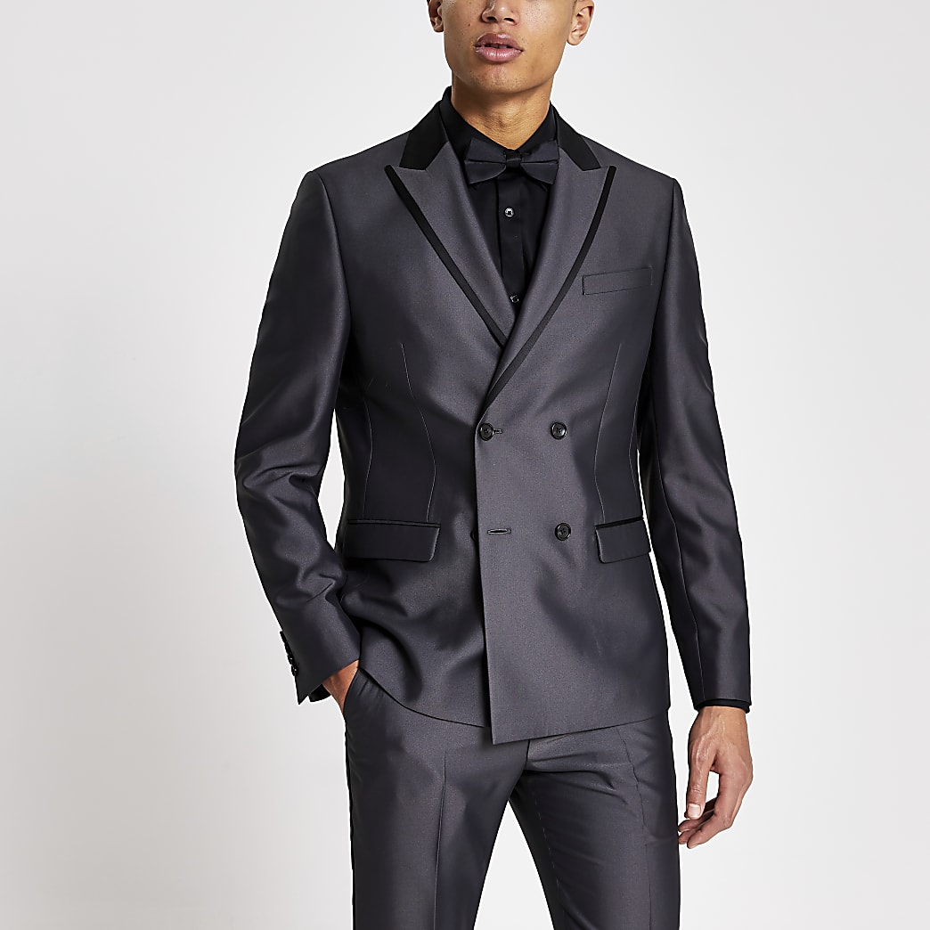 Grey tonic double breasted skinny suit jacket