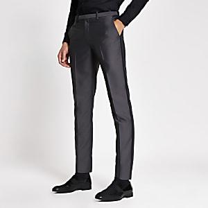 Pantalon de costume skinny gris satiné