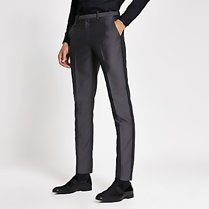 Grey tonic skinny suit trousers