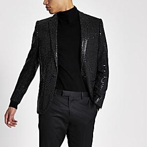 Zwarte skinny-fit blazer met lovertjes