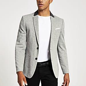 Grijze skinny-fit jersey blazer