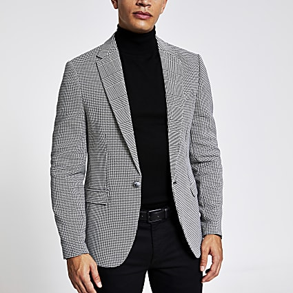 Black check print skinny fit blazer