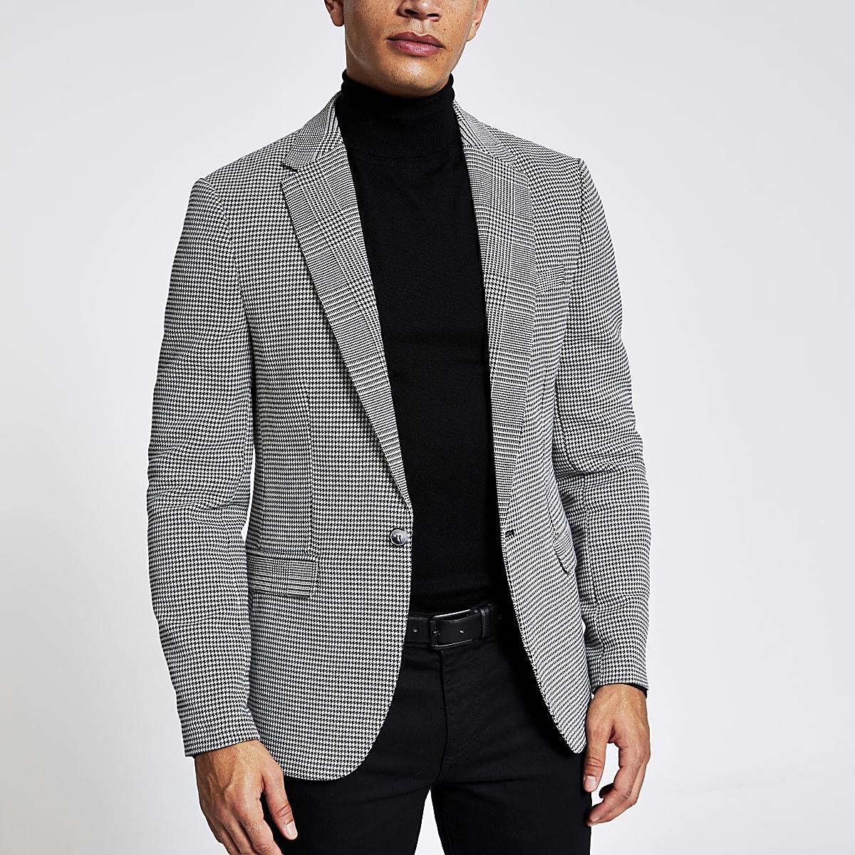 Black check print skinny fit blazer