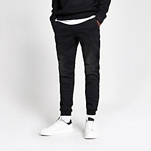Ryan – Schwarze Skinny Jogginghose aus Jeansstoff