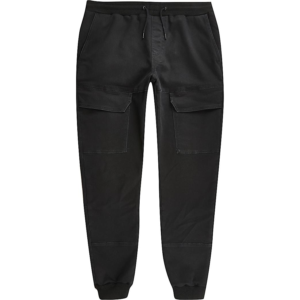 Ryan – Pantalon de jogging utilitaire en jean skinny noir
