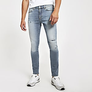 Mittelblaue Sid Stretch Skinny Jeans im Bleach-Look