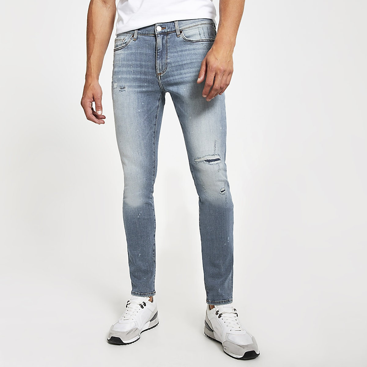 Mid blue bleach Sid stretch skinny jeans