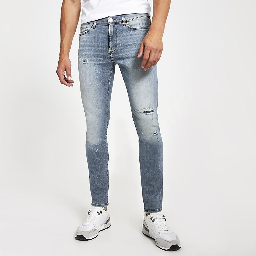 Mittelblaue Sid Stretch Skinny Jeans im Bleach-Look