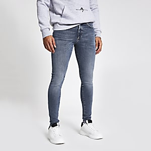 Ollie – Blaue Spray-on-Jeans im Washed-Look
