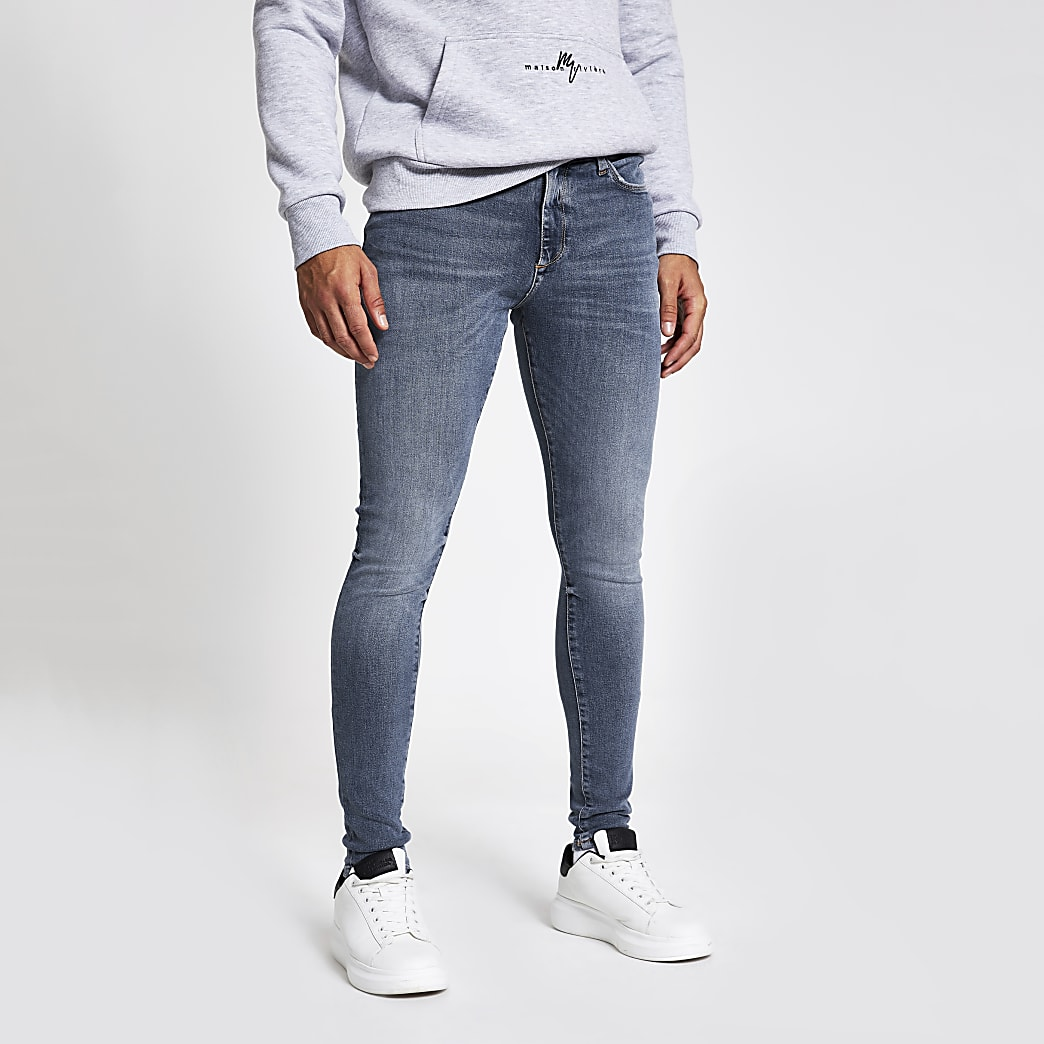 Ollie - Blauwe washed spray-on jeans