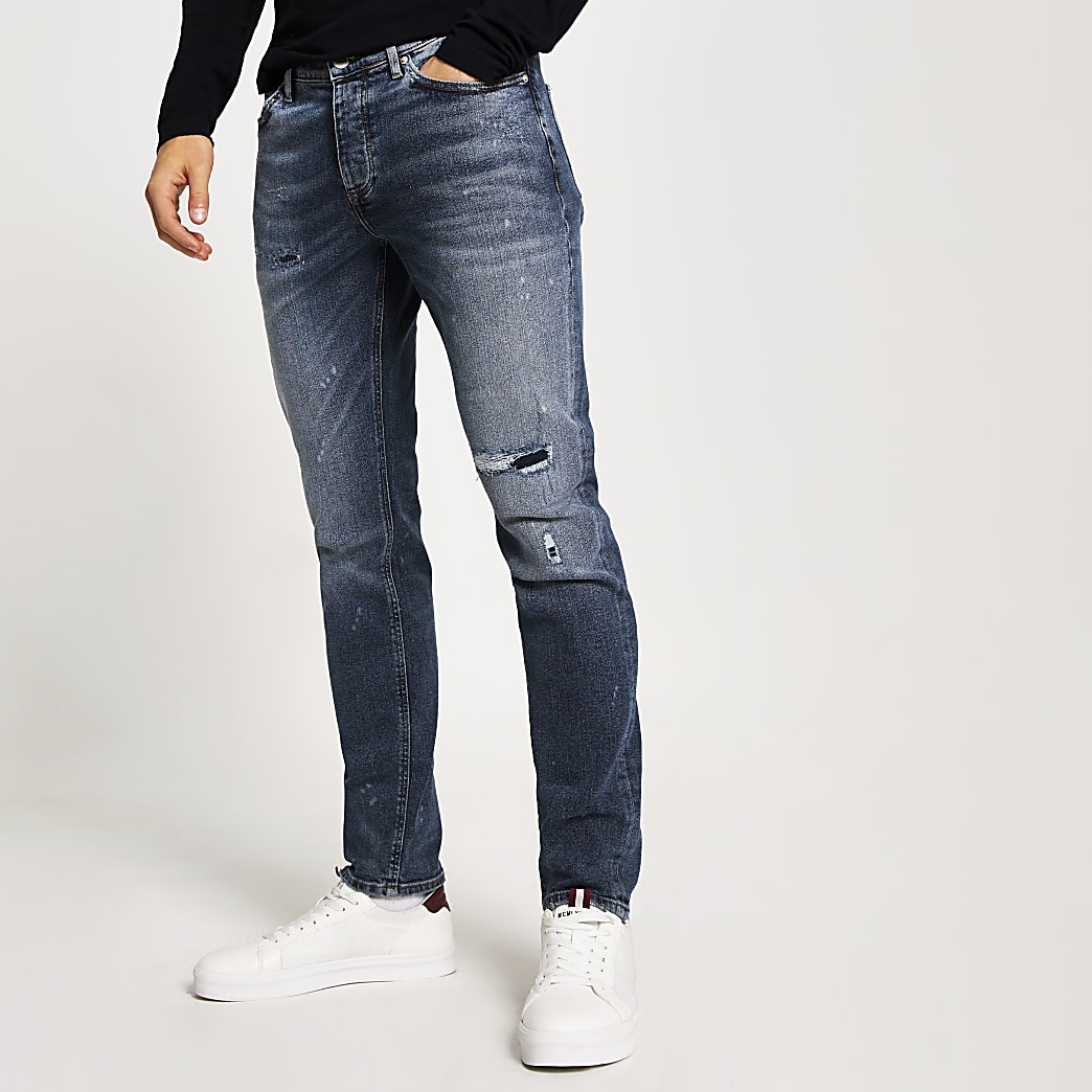 Blauwe bleach wash slim-fit ripped Dylan jeans