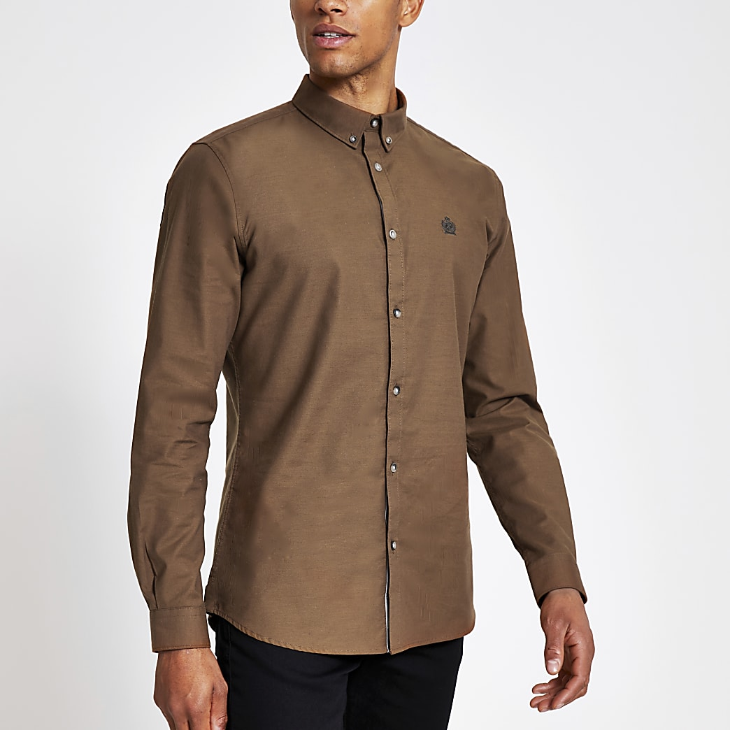 Brown slim fit long sleeve Oxford shirt