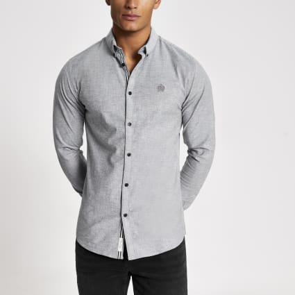 Grey muscle fit long sleeve Oxford shirt
