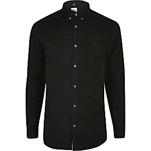 Langärmeliges Muscle Fit Oxfordhemd in Schwarz