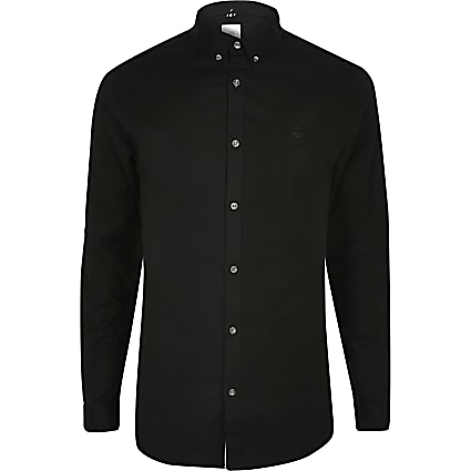 Black muscle fit long sleeve Oxford shirt