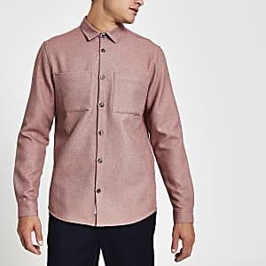 Chemise texturée à manches longues rose clair