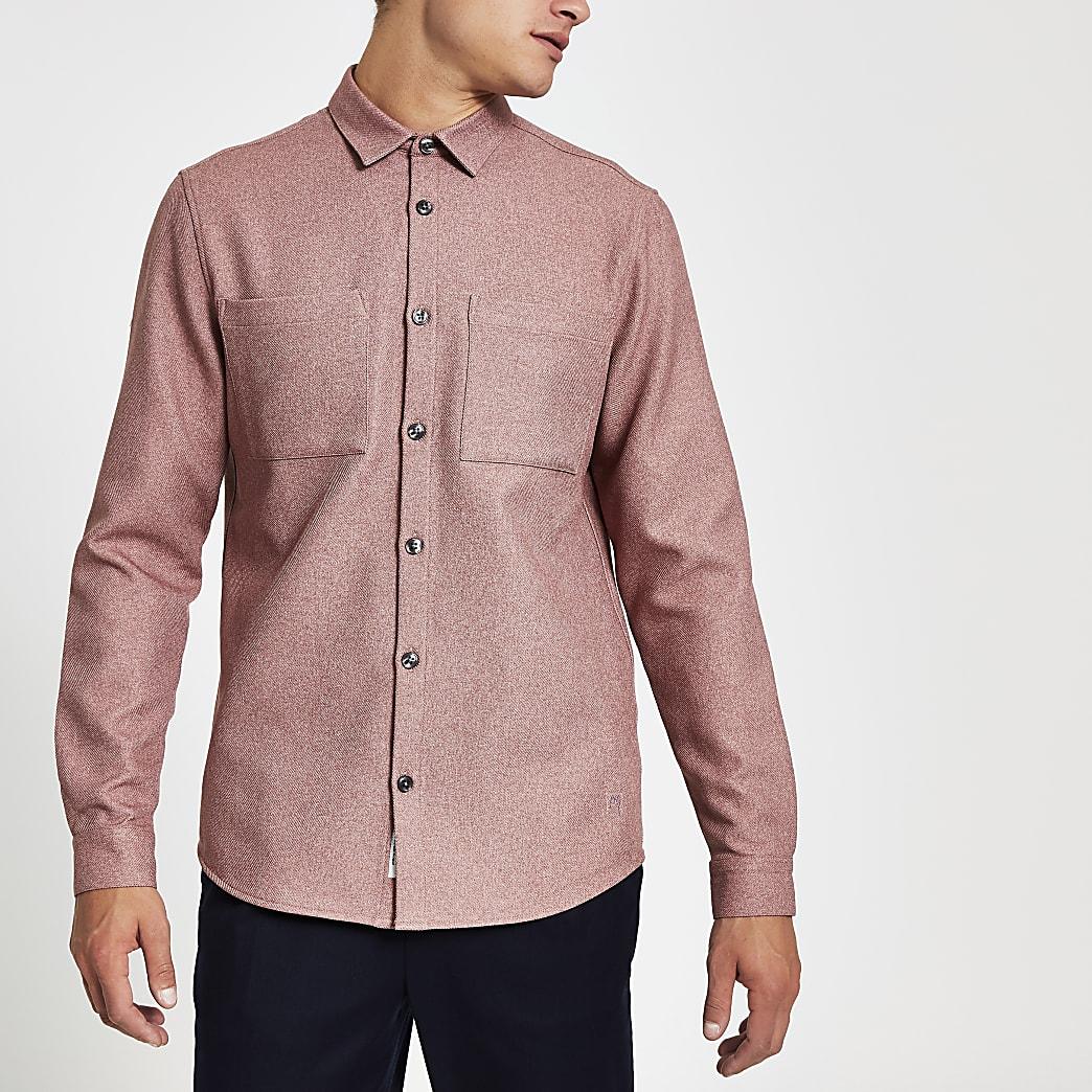 Lichtroze getextureerd overhemd met normale pasvorm