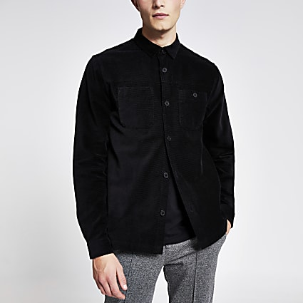 Black corduroy long sleeve shirt